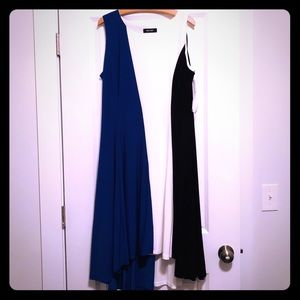 Black,blue and white dress below knee. Size 16.